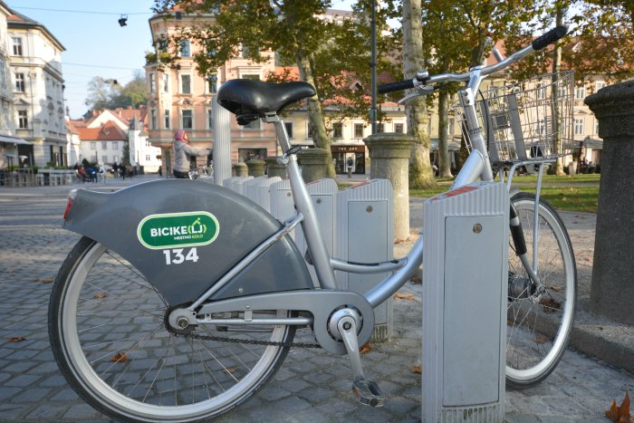 This is how Bicikelj bike looks like. The seat can be easily adjusted and the basket is big and convenient for carrying personal items or a shopping bag.