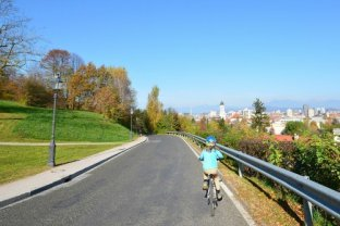 Riding down Ljubljana Castle Hill