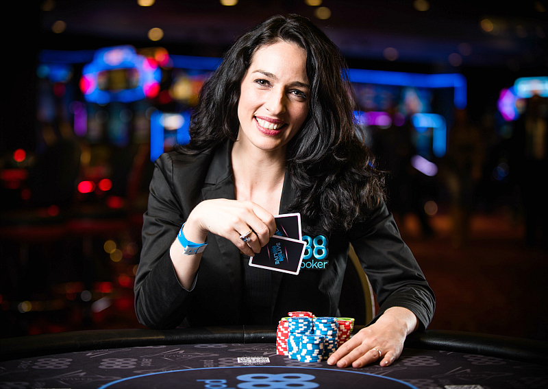 Kara Scott plays poker in Aspers Casino, London