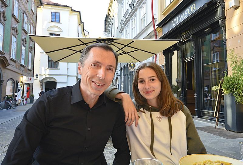 Ljubljana restaurant Julija, me and dad